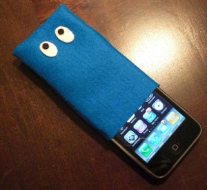 felt case for iPhone with eyes
